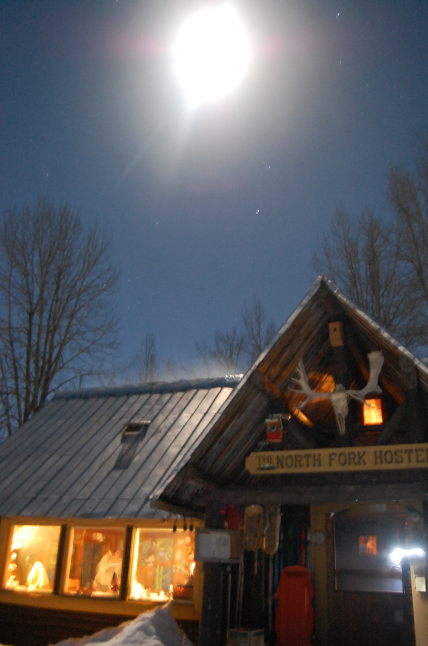hostel under full moonlight
